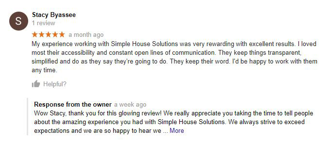 Reviews From Google, Facebook, Yelp, Or The BBB For Simple House Solutions.  This Image Links Back To The Full Review On The Associated Site.